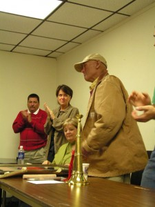 Retirement Dinner: Billy accepts gifts and gives thanks